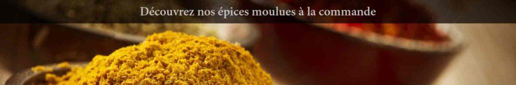 épices en poudre moulues bio fraîche curcuma